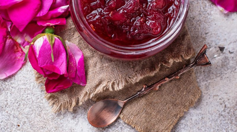 Homemade jam of rose petals