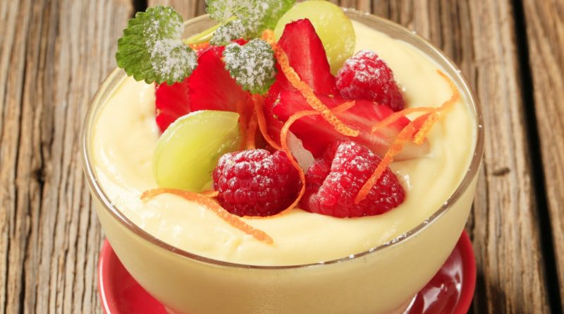 Pudding and fruit